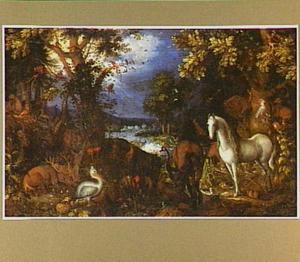 Het Aards Paradijs (op de achtergrond: de Zondeval)
