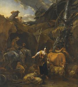 Ruiters, herders en hun dieren voor een stalingang in een rotswand