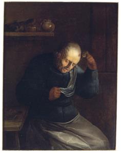 Een oude man met een hoofdwond