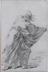 Vrouw op de rug gezien, rennend naar rechts