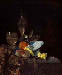 Stilleven met porseleinen kom met vruchten en glaswerk