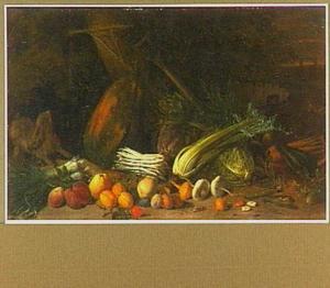 Groente en vruchten op een boerenerf; rechts een pompende man (voor 1987 weggeschilderd geweest)