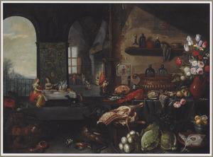 Interieur van een keuken met een stilleven van bloemen, groenten en vlees op de voorgrond