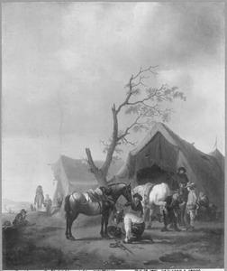 Landschap met hoefsmid bij enkele tenten