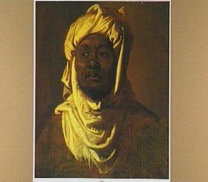 Studieportret van een zwarte man in Arabische dracht