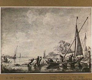 Vissers aan de oever van een rivier