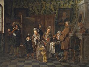 Interieur met een converserend en theedrinkend gezelschap; een violist achter een kamerscherm