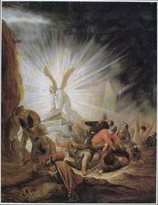 Een engel opent het graf van Christus