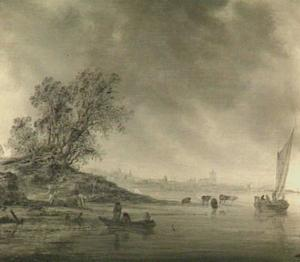 Rivierlandschap; in de verte Arnhem