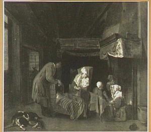 Huiselijk interieur met een wieg