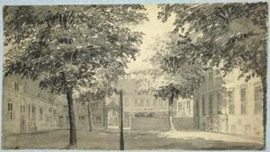 De binnenplaats van het Provinciaal Gerechtshof aan de Korte Nieuwstraat te Utrecht