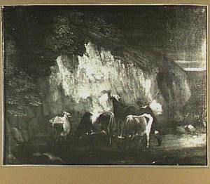 Landschap met herder en vier runderen