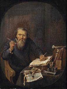 Notaris aan zijn werktafel