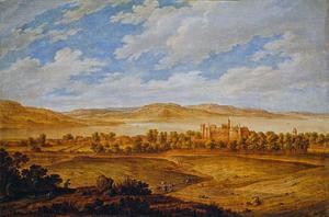 Heuvellandschap met gezicht op Seton Palace en de monding van de Forth