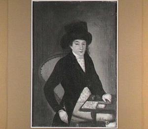 Portret van een man (.. Keurchenis ?) aan een schrijftafel