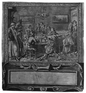 Drinkend en musicerend elegant gezelschap in interieur, met cartouche