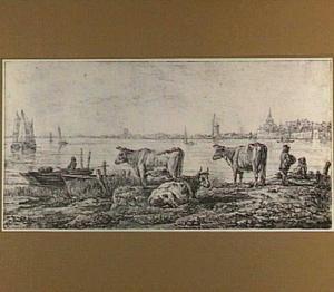 Gezicht op Dordrecht met op de voorgrond koeien
