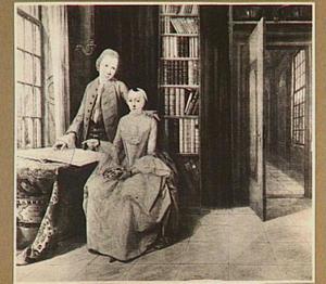 Portret van een onbekend paar in een bibliotheek