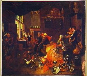 Interieur met een oude rijke man die wordt opgeschrikt door de dood
