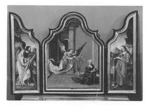 De H. Andreas (links), de annunciatie (midden), de H. Catharina (rechts)