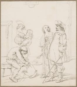 Wachtlokaal met twee officieren en twee jonge vrouwen, een knecht poetst een kuras op