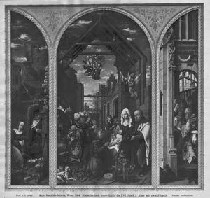 De geboorte (links), de aanbidding van de Wijzen (midden), de besnijdenis (rechts)