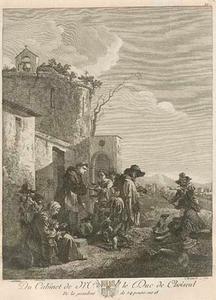 De heilige Franciscus van Assisi de armen spijzigend
