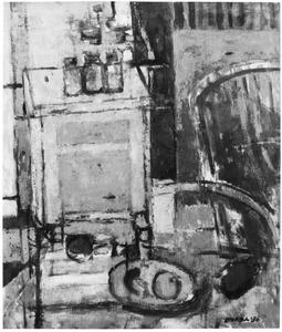 Interieur met kastje, tafel en stoel