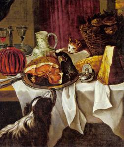 Stilleven met ham, karaf wijn, kaas, mand met oesters en nieuwsgierige kat en hond