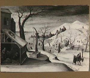 Winterlandschap met de droom van Jozef en de vlucht naar Egypte (Matt. 2:13-15)