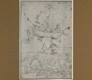 In schip geklemde reus en vechtende figuren (het Helleschip)