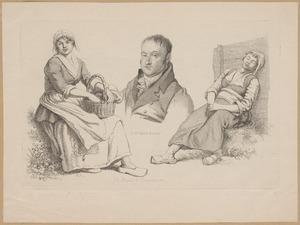 Portret van Daniël Vrijdag (1765-1822) en twee studies van een boerin
