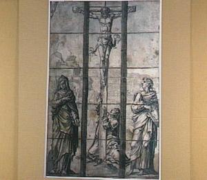 Christus aan het kruis met Maria, Johannes de Evangelist en Maria Magdalena (Johannes 19:25-26)