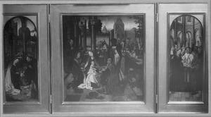 Drieluik met de geboorte (links), de aanbidding van de Wijzen (midden) en de besnijdenis (rechts)