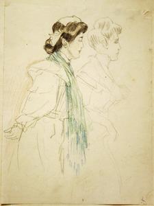 Studieblad met twee vrouwen, en profil