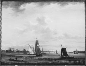 Gezicht op de molens bij Rotterdam vanaf de Maas