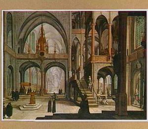 Interieur van een kathedraal met een pauselijke processie