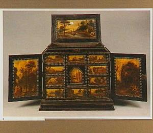 Kunstkastje met 14 panelen beschilderd met landschappen