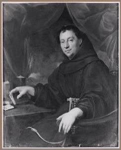 Portret van een geestelijke, zittend in zijn studeervertrek