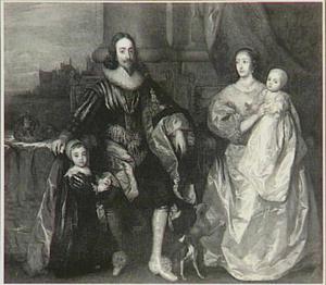Portret van Karel I en Henriëtte Maria van Engeland, zittend met hun twee oudste kinderen, met op de achtergrond de Theems bij Westminster