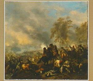 Landschap met veldslag op de oever van een rivier