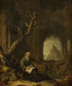 Kluizenaar bij een ruïne