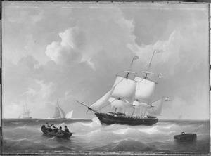 """Het barkschip """"Nicot"""" van rederij Wüste & Hintzen te Amsterdam onder zeil, onder kapitein Amesz."""