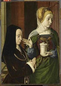 Portret van Madeleine van Bourgondië (?), vrouwe van Laage, met de H. Maria Magdalena