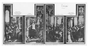 Christus wijst naar het kruis en Maria (midden), Charles Coguin, abt van Anchin, akolieten en zijn patroonheilige Karel de Grote (links), de prior van Anchin en monniken van de abdij St.-Benoit (rechts) (Retabel van Anchin)