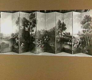 Kamerscherm, samengesteld uit drie geschilderde behangsels van dezelfde hand, twee italianiserende landschappen ove rdrie slagen en één over vier, in totaal tien slagen