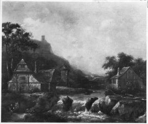 Berglandschap met enkele huizen en een watermolen bij een waterval