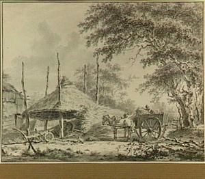 Boerenerf met hooiberg en paard en wagen