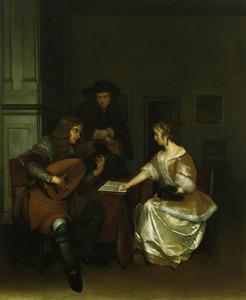 Interieur met een elegant musicerend gezelschap