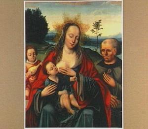 De Heilige Familie met musicerende engel